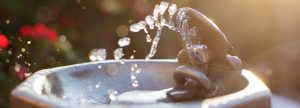 Water spurting from a drinking fountain