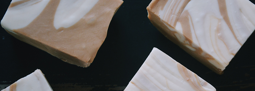 Close up of four chunks of fudge