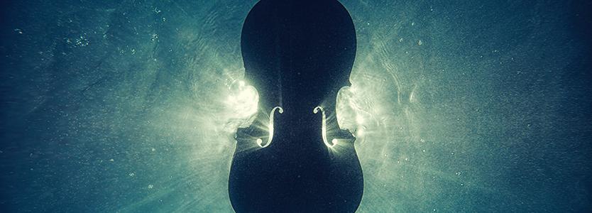 A violin underwater
