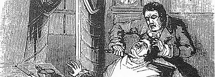 Sweeney Todd cuts the throat of a customer